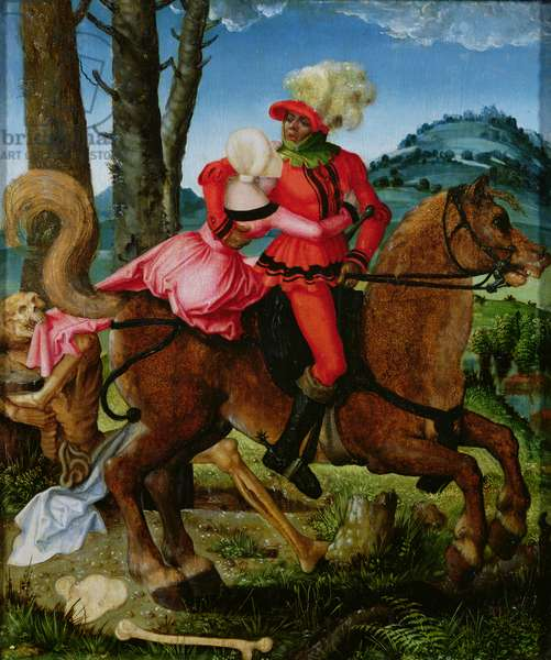 The Knight, the Young Girl and Death (oil on panel)