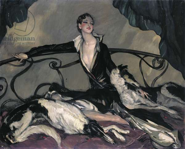 Woman with Greyhounds, 1930 (oil on canvas)