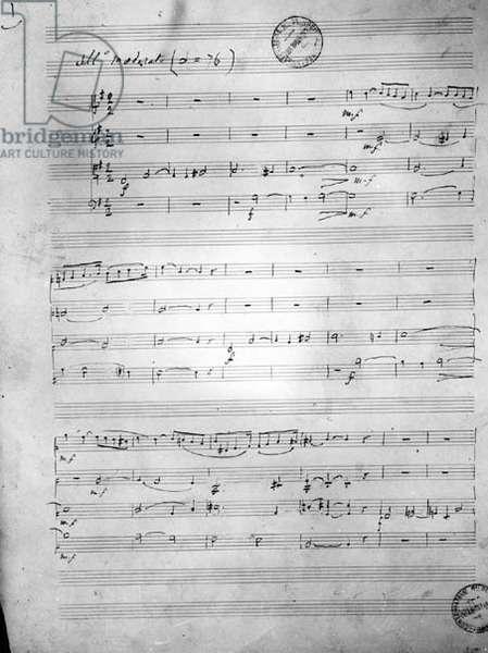 Music Score for a String quartet, Opus 121, 1924 (pen & ink on paper)