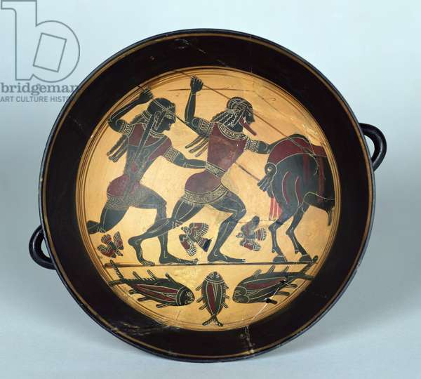 Interior of a cup depicting the hunt for the Boar of Calydon, Laconian, c.560 BC (ceramic)