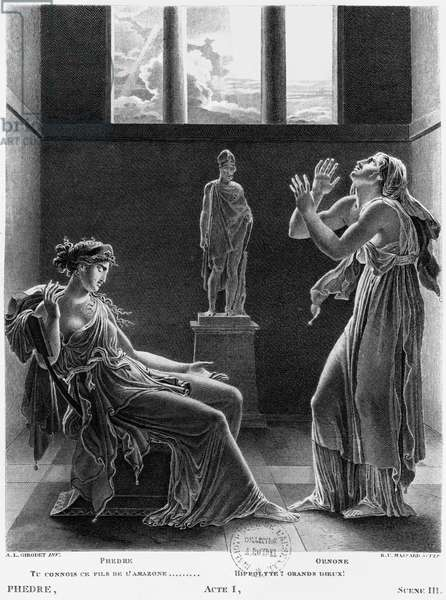 Phaedra and Oenone, illustration from Act I Scene 3 of 'Phedre' by Jean Racine (1639-99) engraved by Raphael Urbain Massard (1775-1843) 1824 (engraving) (b/w photo)