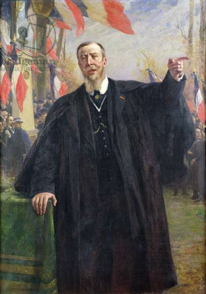 Paul Deroulede (1846-1914) Making a Speech at Bougival, January 1913 (oil on canvas)
