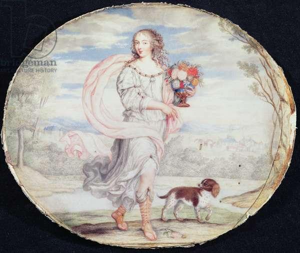 Francoise Louis de la Baume le Blanc (1644-1710) Mademoiselle de la Valliere (gouache on vellum laid on card)