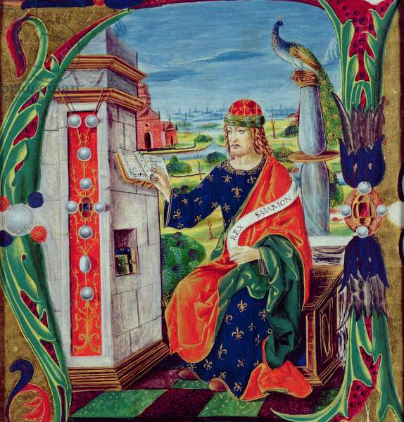Historiated initial 'A' depicting King Solomon, Lombardy School, c.1499-1511 (vellum)