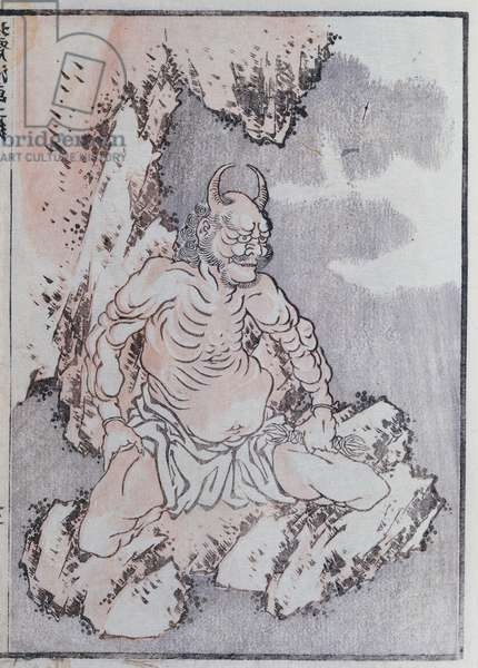 A genie, from a Manga (coloured woodblock print)