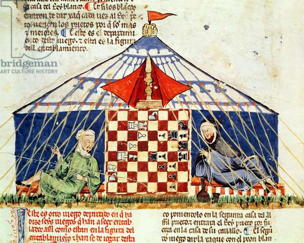 Fol.62v Two arabs playing chess in a tent, from the 'Book of Games, Chess, Dice and Tables', 1283 (vellum)