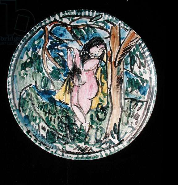 Dish with Eve as a musician by a tree, c.1907-09 (ceramic)