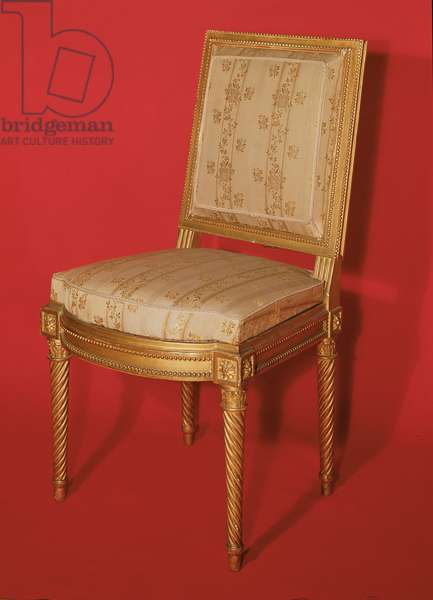 Louis XV style chair (gilt wood and silk)