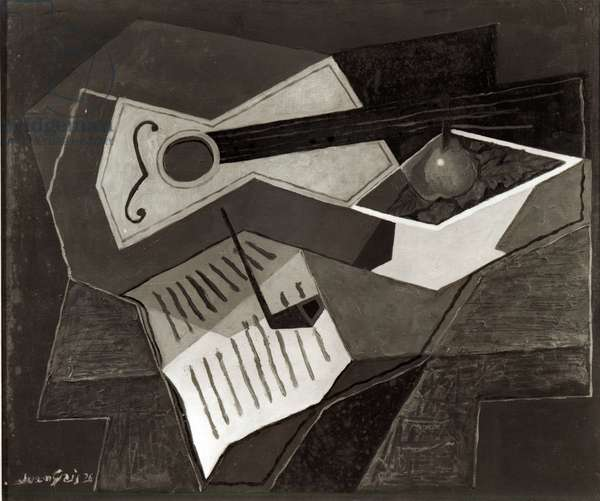 Guitar and Fruit bowl, 1926 (oil on canvas) (b/w photo)