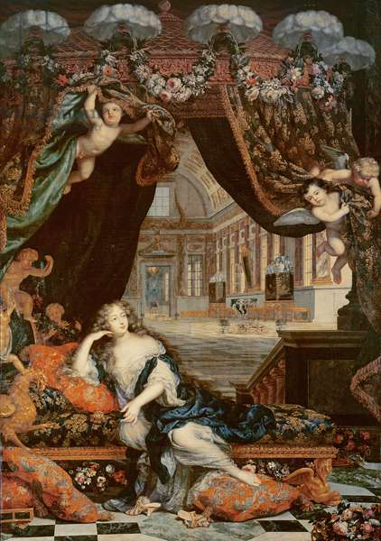 Portrait of Madame de Montespan (1640-1707) reclining in front of gallery of the Chateau de Clagny (oil on canvas)