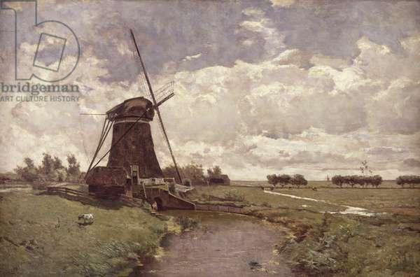 Windmill at Leidschendam (oil on canvas)