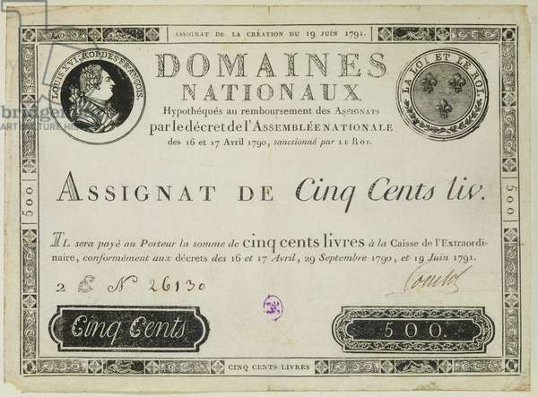 Five hundred livres banknote, 19th June 1791 (engraving)