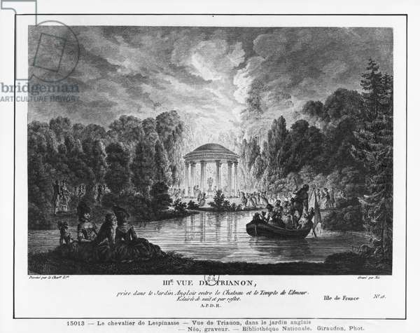 Third view of Trianon, taken from the English garden between the castle and the Temple of Love, engraved by Francois Denis Nee (1732-1817) (engraving)