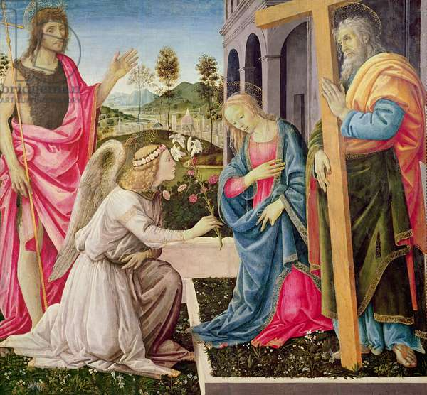 Annunciation with St. Joseph and St. John the Baptist, c.1485 (tempera on panel)