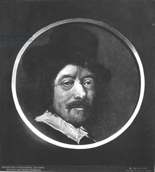 Self portrait (oil on canvas) (b/w photo)