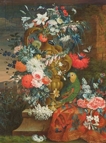 Bouquet of flowers and a parrot (oil on canvas)