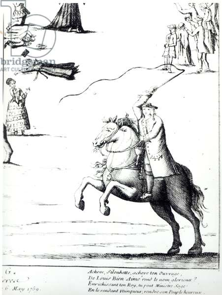 Etienne de Silhouette (1704-67) against the Farmers General (engraving) (b/w photo)