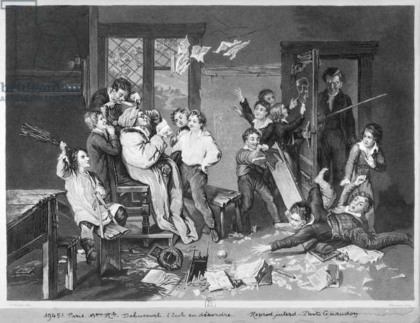 Scene of disorder at school (aquatint) (b/w photo)