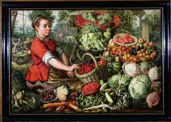 The Vegetable Seller (oil on canvas)