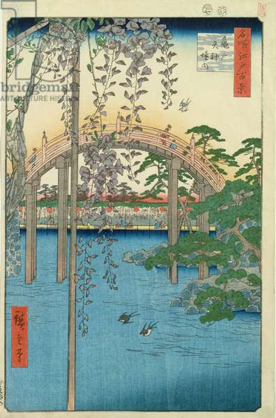 The Bridge with Wisteria or Kameido Tenjin Keidai, plate 57 from '100 Views of Edo', 1856 (colour woodblock print)