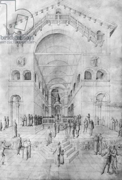The Presentation of the Virgin in the Temple, from the Jacopo Bellini's Album of drawings (pen & ink on vellum) (b/w photo)
