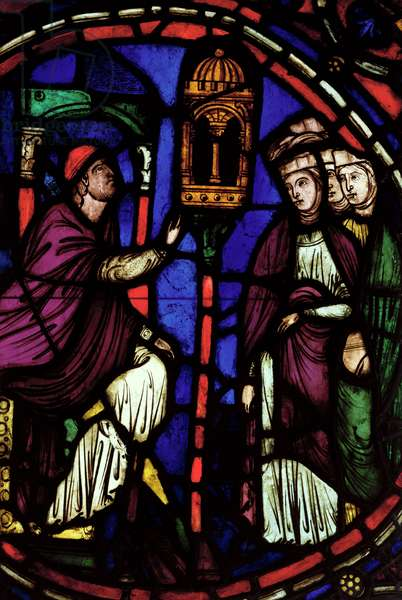 Window depicting a man preaching to three women, Ile de France Workshop (stained glass)