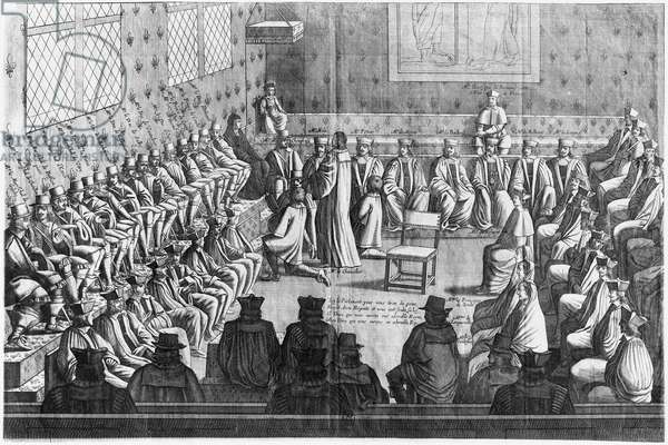 Session of Parliament presided by Regent Anne of Austria (1601-66) and Louis XIV (1638-1715) (engraving) (b/w photo)