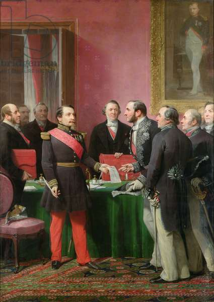 Napoleon III (1808-73) Hands Over The Decree allowing the Annexation of the Suburban Communes of Paris to Baron Georges Haussmann (1809-91) in June 1859, 1865 (oil on canvas)