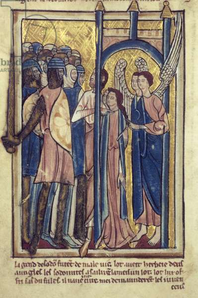 Lot offering his daughters to the inhabitants of Sodom, from a book of Bible Pictures, c.1250 (vellum)