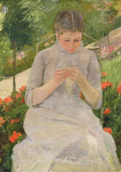 Young Woman Sewing in the garden, c.1880-82 (oil on canvas)