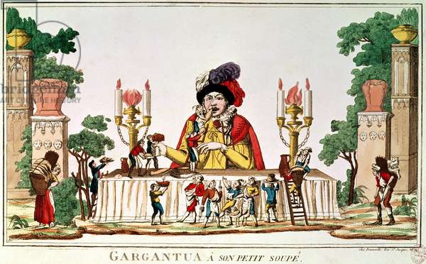 Gargantua at his Little Supper, c.1800 (coloured engraving)