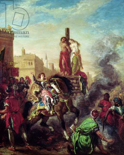 Olinda and Sophronia on the Pyre, from 'Gerusalemme Liberata' by Torquato Tasso (1544-95) (oil on canvas)