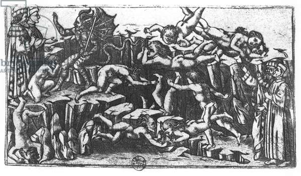 Hell, from 'The Divine Comedy' by Dante Alighieri (1265-1321) (engraving) (b/w photo)