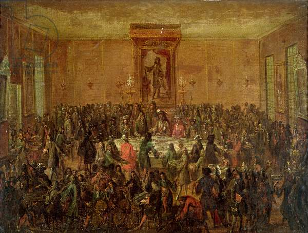 Banquet Given in Honour of Louis XIV (1638-1715) by the Corps Municipal at the Hotel-de-Ville, c.1680 (oil on canvas)