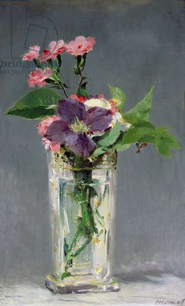 Pinks and Clematis in a Crystal Vase, c.1882 (oil on canvas)