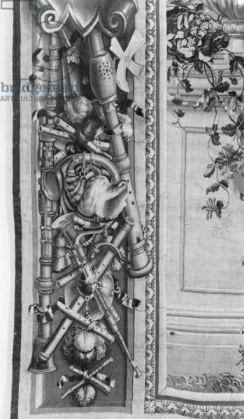 'The Seasons' tapestry, border, music instruments, c.1670, Gobelins Factory (detail) (tapestry) (b/w photo)
