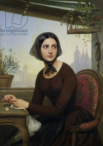 Rigolette Trying to Distract herself during Germain's Absence, 1844 (oil on canvas)