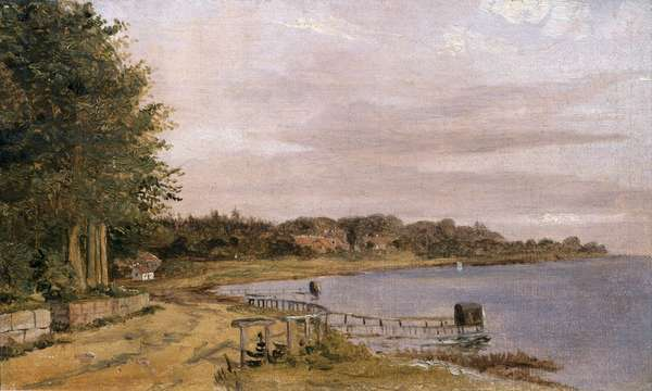 River Bank at Emilliekilde (oil on canvas)