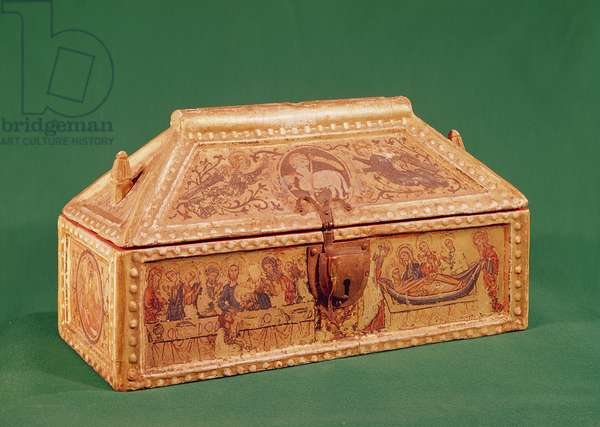 Chest formerly thought to have contained the Holy Shroud of Besancon, 13th century (wood painted with tempera on a gilden base)