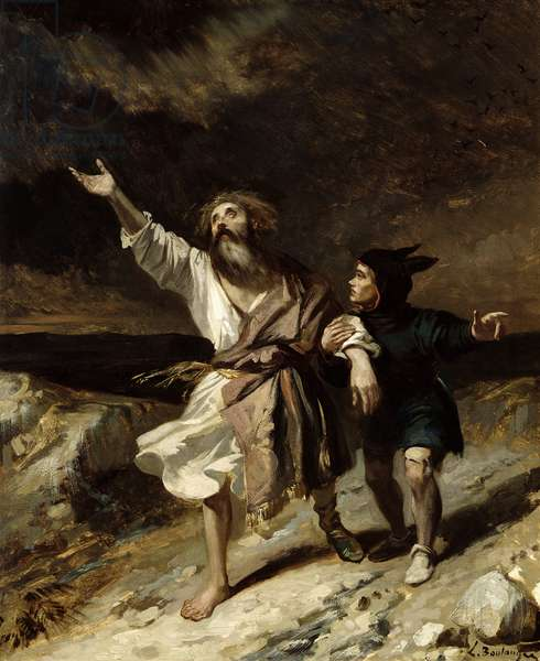 King Lear and the Fool in the Storm, Act III Scene 2 from 'King Lear' by William Shakespeare (1564-1616) 1836 (oil on canvas)