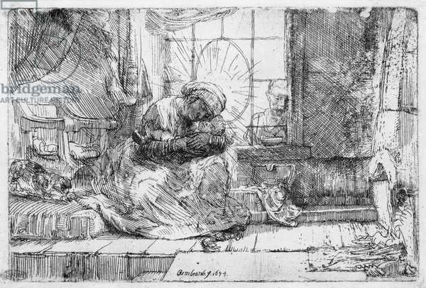 The Holy Family with a cat, 1654 (etching) (b/w photo)