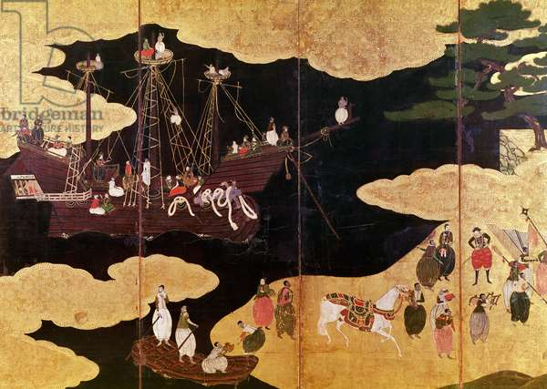 The Arrival of the Portuguese in Japan, detail of the left-hand section of a folding screen, Kano School (lacquer)