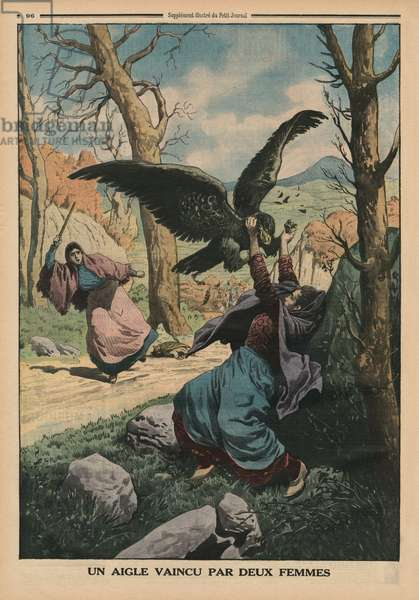 Two women defeating an eagle, back cover illustration from 'Le Petit Journal', supplement illustre, 22nd March 1914 (colour litho)