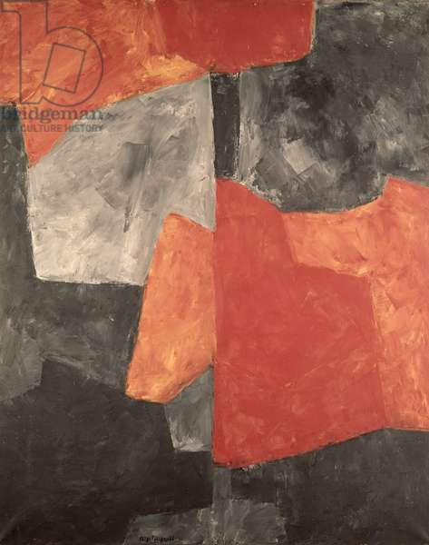 Grey and Red Composition, 1964 (oil on canvas)