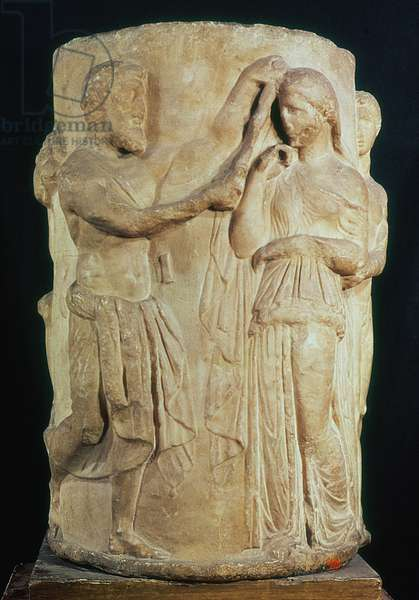 Cylindrical altar depicting the sacrifice of Alceste (marble)