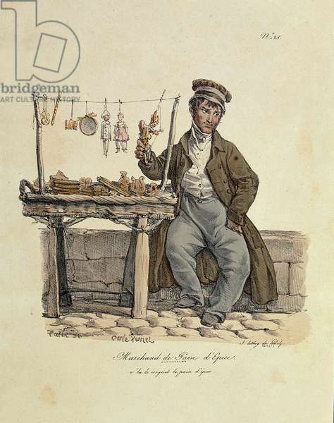 The Gingerbread Seller, number 25 from 'The Cries of Paris' series, engraved by Francois Seraphin Delpech (1778-1825) (litho)