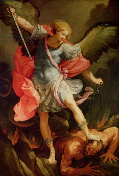 The Archangel Michael defeating Satan (oil on canvas)