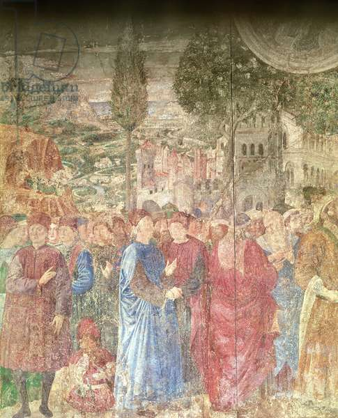 The Building of the Tower of Babel, detail of the house of the Medicis surveying the construction work, 1468-84 (fresco)