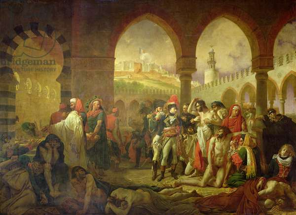 Napoleon Bonaparte (1769-1821) visiting the plague stricken of Jaffa, 11th March 1799, 1804 (oil on canvas)