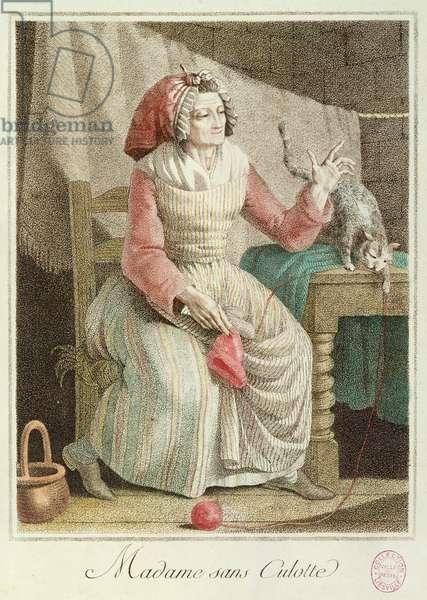 Madame Sans-Culotte, 1792 (colour engraving)